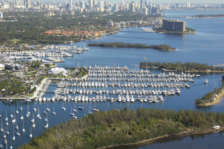 Dinner Key Marina in the heart of Miami