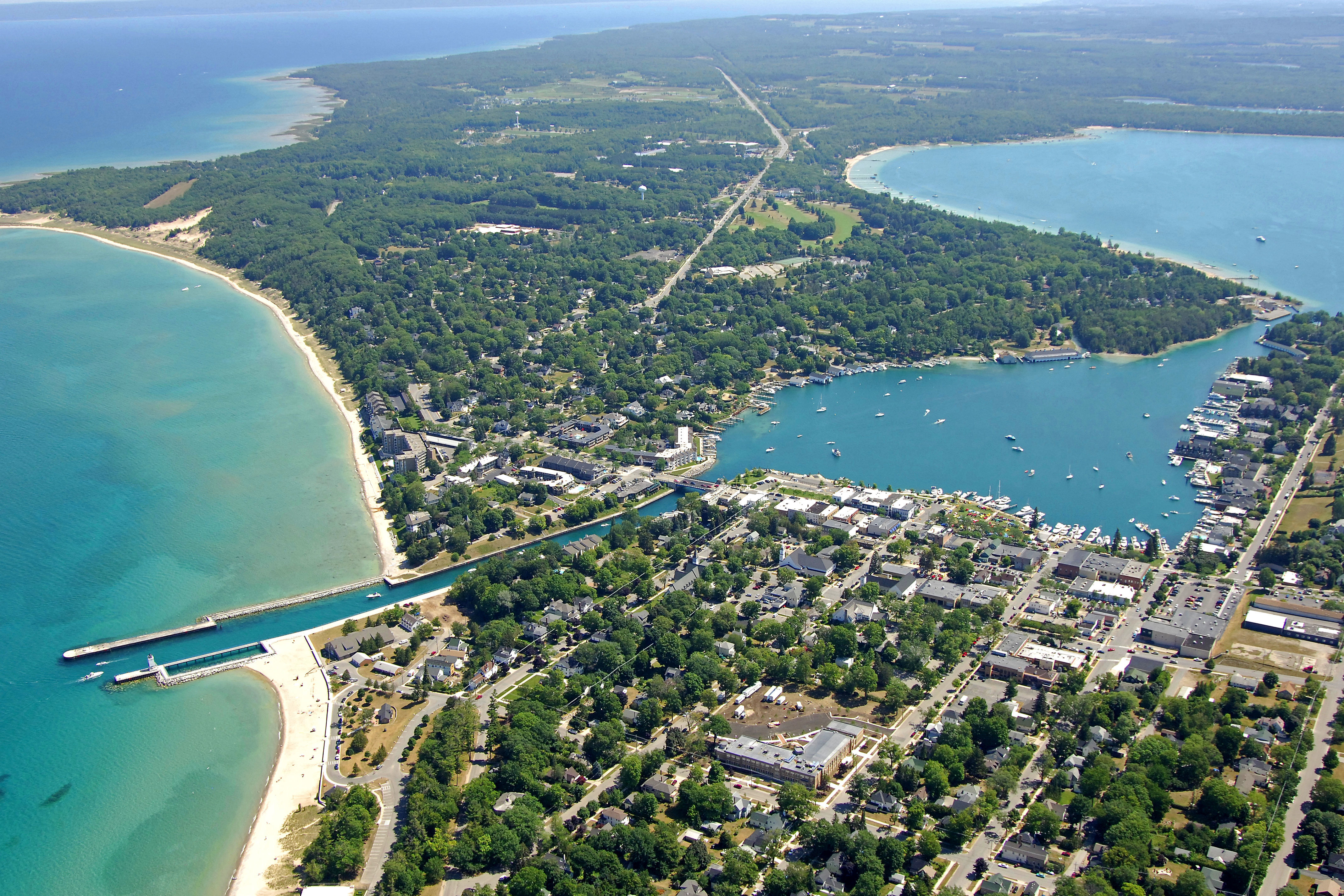 Charlevoix Harbor In Charlevoix Mi United States